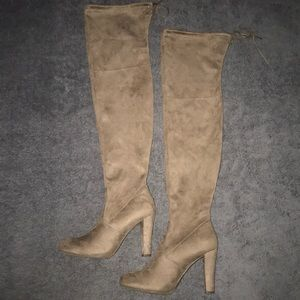 Brown suede thigh high heels